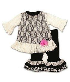252837c757 Peaches n Cream Holiday Ivory Black Lace Velour Pant set Girls 12m-6x  Velour Pants