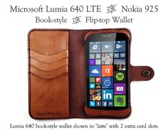 Leather Phone Wallet Case for Microsoft Lumia 640 by HANDandHIDE
