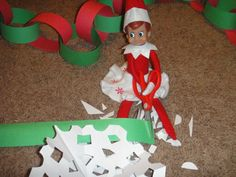 Elf on the Shelf making Christmas crafts