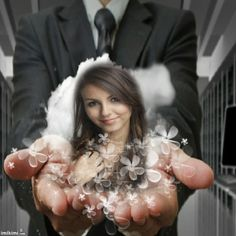 """In your hands"" photo montage. Click to replace her photo with your own. #groom #bride"