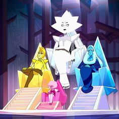 I'm still wondering how the heck White gets off that throne without tripping. Steven Universe Characters, Steven Universe Movie, Universe Art, Steven Universe Wallpaper, Steven Universe Drawing, Pink Diamond Steven Universe, Steven Universe Moonstone, Desenhos Cartoon Network, Steven Univese
