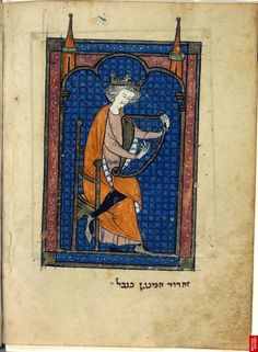 North French Miscellany, Northern France, c.1278–98. David playing the harp BL Add. MS 11639, f. 117v