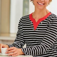 Lunch in Paris Long-Sleeve Top - <p> 	A new twist on the classic stripe, first worn by French sailors. Our version gets its update from a contrasting banded split neckline sparked wi