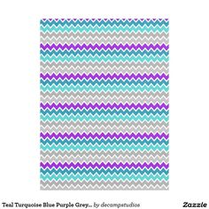 Teal Turquoise Blue Purple Grey Gray Chevron Fleece Blanket