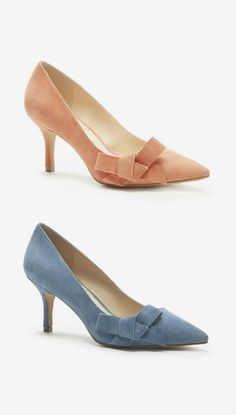 Lush suede mid heel pumps in coral & chambray with pointed toes and ladylike bows Mid Heel Shoes, Shoes Heels, Pumps, Sexy Heels, Low Heels, Fancy Shoes, Me Too Shoes, Dressy Shoes, Denim Shoes