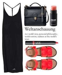 """Backless in Black"" by miss-magali-mnms ❤ liked on Polyvore featuring Coach, ASOS and NARS Cosmetics"