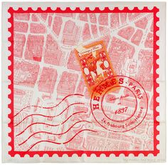 Hermes Silk Scarf DE PASSAGE A PARIS White Red Nathalie Vialars #Hermes #Scarf