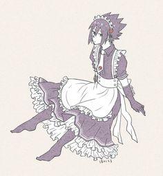 Sasuke is a maid hehe Naruto Shippuden Sasuke, Naruto Cute, Naruto Sasuke Sakura, Itachi Uchiha, Guys In Skirts, Narusasu, Sasunaru, Anime Maid, Akira Kurusu