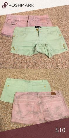 2 pairs of shorts 1 pair of sea green size 7 Eighty Eight shorts, 1 pair of purple size 6 American Eagle shorts. Gently used, sold together. American Eagle Outfitters Shorts Jean Shorts