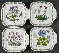 Portmeirion Botanic Garden Set of 4 Square Canape Dishes (Designs 36,39,48,49, Fine China Dinnerware by Portmeirion. $47.99. Portmeirion - Portmeirion Botanic Garden Set of 4 Square Canape Dishes (Designs 36,39,48,49 - Various Plants & Insects,Green Laurel
