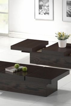 Cambridge Brown Wood Modern Coffee Table with Hidden Storage by Wholesale Interiors on @HauteLook