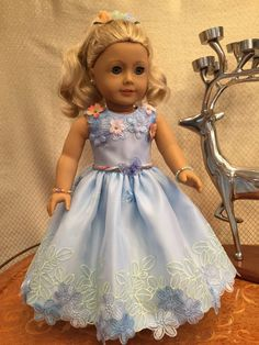 Flowers blue Dress for special occasion. by SmallWorldCouture