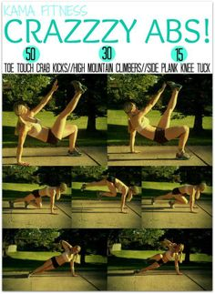 Here's a great AB workout for those of you getting a workout in today! 50- Toe Touch Crab Kicks, 30 Mountain Climbers, 15 Side Plank Knee Tucks. Go for 3 rounds!