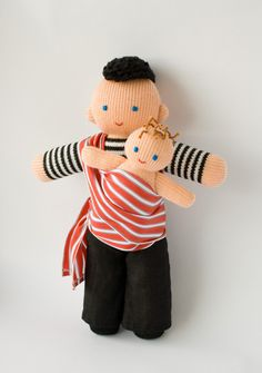 Babywearing Daddy Doll with a baby doll - knitted play dolls - eco-friendly, waldorf, Free Worldwide Shipping. $42.00, via Etsy.