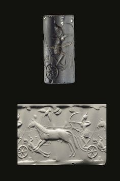 A MIDDLE ASSYRIAN OBSIDIAN CYLINDER SEAL   CIRCA 13TH CENTURY B.C.   Engraved with a charioteer running down an opponent, standing with his bow drawn, aiming forward, the victim laying beneath the horse's front legs, one arm reaching upwards and the other bent towards his breast, with his spear lying beside him, a bird with outspread wings soaring above