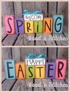 Spring Easter reversible wood block set seasonal home decor. Easter greeting and Spring greeting!
