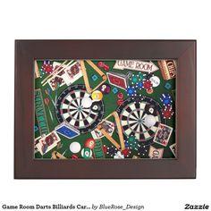 Shop Game Room Darts Billiards Cards Keepsake Box created by BlueRose_Design. Wooden Keepsake Box, Keepsake Boxes, Ga Game, Mahogany Color, Game Room Decor, Room Themes, Darts, Black Velvet, Modern Decor