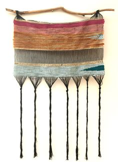 "- DESCRIPTION TEHYA SHEA~textile artist Special one of a kind weaving made for SOMEDAY Boutique THE ELEMENTS by Tehya Shea 20"" x 32"" aprox~wall hanging~art Wool, cotton and gold thread hanging on fora"