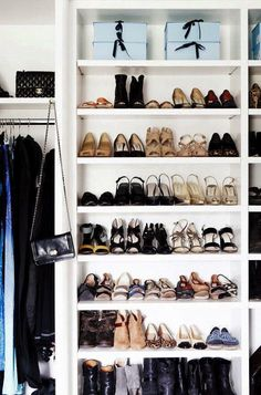 Tips on how to declutter your home with the KonMari method. Shoe organization in shelves. Master Closet, Closet Bedroom, Closet Space, Shoe Closet, Master Bedroom, Entryway Closet, Rustic Entryway, Master Bath, Walking Closet