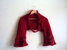 Crochet Red Shrug with Removable Flower Brooch - Crochet Necklace Women Clothing Fashion Wedding Bridal Shrug Capalet Cardigan Ready to Ship  by GrahamsBazaar, $75.00