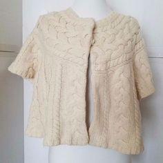 BCBG Max Azria  Shrug Sweater Wool Cable Knit Short Sleeve Ivory Bolero Large L #BCBGMAXAZRIA #Shrug