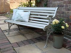 Wrought Cast Iron Vintage Antique Style Garden Bench Painted in Farrow and Ball | eBay
