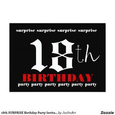 18th surprise birthday party invitation template 18thbirthday surprise birthday party invitation - 18th Birthday Party Invitations