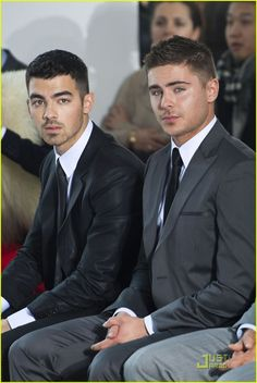 Zac Efron poses with Joe Jonas at the Calvin Klein Men's Collection fashion show during Mercedes-Benz Fashion Week  in New York.