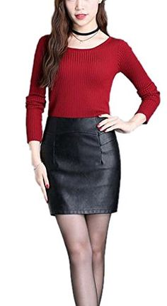 Women Fashion OL High Waisted Black Bodycon Club Mini Faux Leather Pencil Skirts * Check this awesome product by going to the link at the image.
