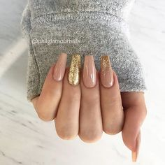 ✨ REPOST - - • - - Glamorous Nude Coffin Nails with Gold Glitter ✨ - - • - - Picture and Nail Des...