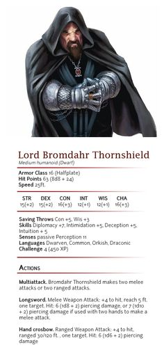 Lord Bromdahr Thornshield - CR 4 by dizman.deviantart.com on @DeviantArt