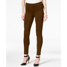 Style & Co. Seamfront Ponte Leggings, ($28) ❤ liked on Polyvore featuring pants, leggings, rich truffle, white ponte pants, stretch trousers, ponte knit leggings, style&co pants and ponte pants