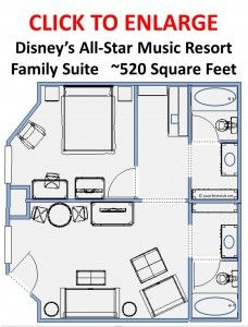 Floor Plan Family Suites (and other details) for Disney's All-Star Music Resort