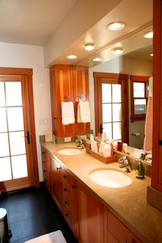 Guest Bathroom with Custom Fir Cabinetry, by Santa Cruz Design + Build, http://www.santacruzdesignbuild.com/