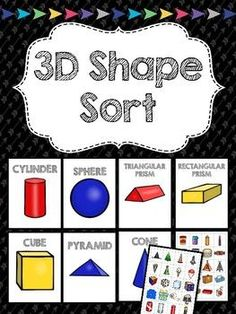 Identify and sort 3D shapes in this simple reusable activity! Perfect for small groups or extension activities!  This product includes large 3D shape sorting mats and  54 smaller sorting cards with real life 3D objects. Simply print, laminate, and cut or even add magnets to turn into a magnetic center.
