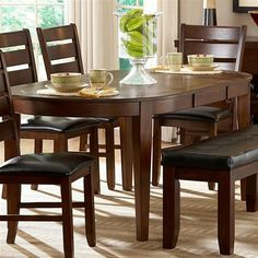 Ameillia Contemporary Dark Oak Wood Oval Dining Table