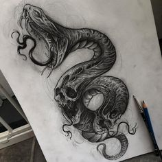 Creepy Tattoos, Skull Tattoos, Leg Tattoos, Black Tattoos, Body Art Tattoos, Sleeve Tattoos, Cool Tattoos, Skull Tattoo Design, Tattoo Design Drawings