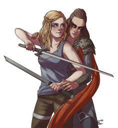 """""""I would have loved to see Lexa teaching Clarke to use swords  :( """" This was meant to be an exclusive piece for the Clexa art book, but seeing…"""