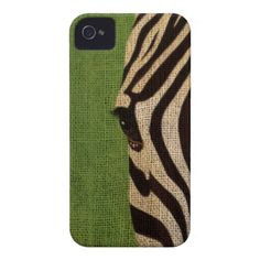 Zebra Face on Lime Green iPhone 4 Case