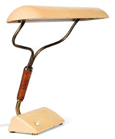 Josef Frank; Enameled Metal, Brass and Leather Table Lamp, c1940.