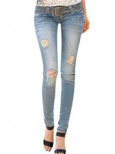 Fashion Star Style Elastic Slim Skinny Women Denim Pants Jeans