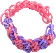 Pulsera con ligas rosa y lila, la mejor forma de estar a la moda con las ligas divertidas