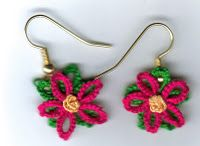 pointsetta earrings pattern-I think these could be any kind of flower, depending on the color you made them in.