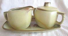 Frankoma Desert Gold Plainsman Sugar Bowl #5B Creamer #5A and Serving Platter #5PS by McKeanLane on Etsy