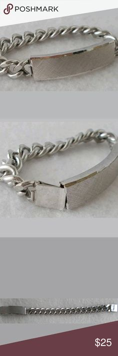 Vintage Spiedel Engravable SS Top Stainless Steel Vintage Spiedel Engravable SS Top Stainless Steel Chain Pics don't do this justice was in my grandmother's estate  7 inches long Top is sterling silver  No trades or try on please One of my posh customers was looking for one of these awhile back! vintage Spiedel Jewelry Bracelets