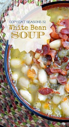 Copycat Seasons 52 White Bean Pesto & Bacon Soup #soup #recipes #copycat
