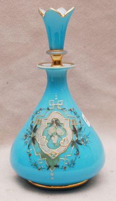 "Beautiful perfume bottle...Blue opaline Victorian perfume bottle, 6""h"