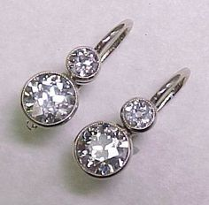 Art Deco Diamond Drop Earrings 2.60 Carats Total ! from arnoldjewelers on Ruby Lane
