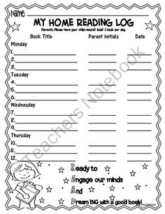 Home Reading Log  product from Educational-Worksheets on TeachersNotebook.com