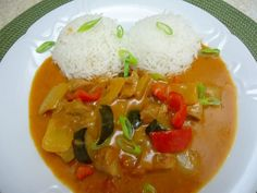 Thai Red Curry, Rice, Ethnic Recipes, Food, Essen, Meals, Yemek, Laughter, Jim Rice